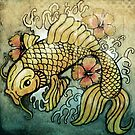 koi fish and Hibiscus  by Vin  Zzep