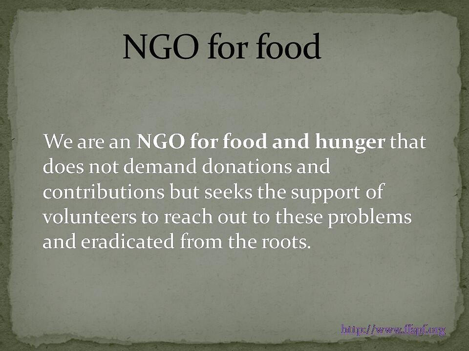 An aspiring NGO for food  by FFSPF