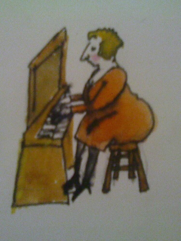bird on organ by JENNYKITTEN