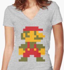 8 bit Mario V.2 Women's Fitted V-Neck T-Shirt