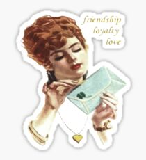 Beautiful Young Woman Holding Love Letter Vintage Vector Sticker