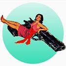Swinging Sixties Girl on Gun by sashakeen
