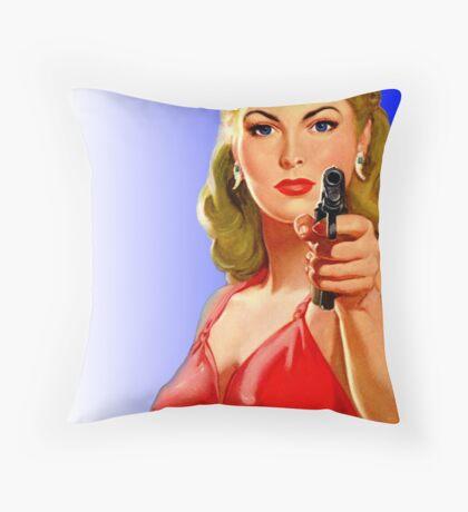 Red Hot Girl with Gun Throw Pillow