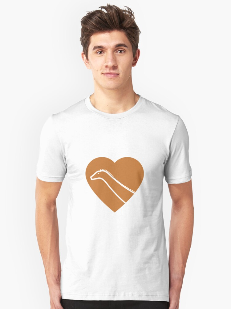 Dinosaur heart: Diplodocus (Orange on White) Unisex T-Shirt Front