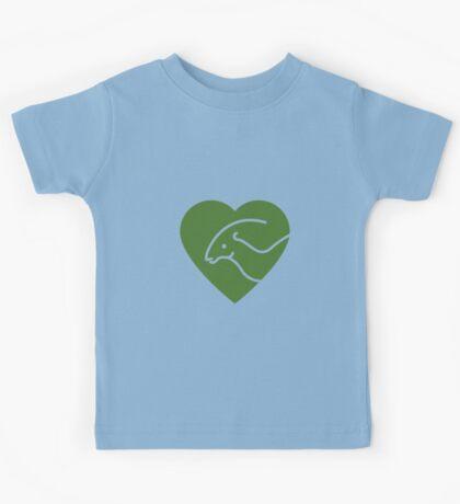 Dinosaur heart: Parasaurolophus (Green on white) Kids Clothes