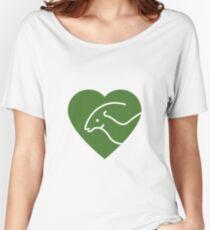 Dinosaur heart: Parasaurolophus (Green on white) Women's Relaxed Fit T-Shirt