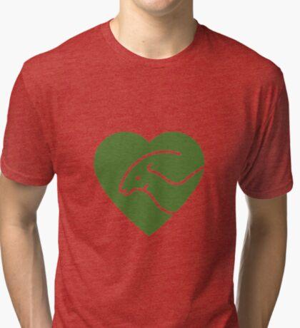 Dinosaur heart: Parasaurolophus (Green on white) Tri-blend T-Shirt