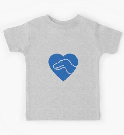Dinosaur heart: Torvosaurus (Blue on white) Kids Clothes