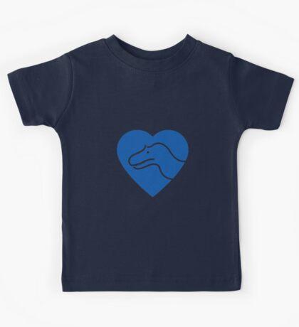 Dinosaur heart: Torvosaurus (Blue on white) Kids Clothes