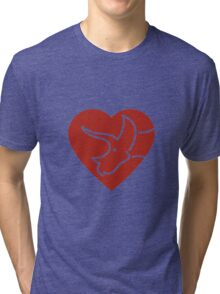 Dinosaur heart: Triceratops (Red on white) Tri-blend T-Shirt