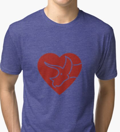 Dinosaur heart: Triceratops (Red on white) Tri-blend T-Shirt