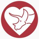 Dinosaur heart: Triceratops sticker by David Orr