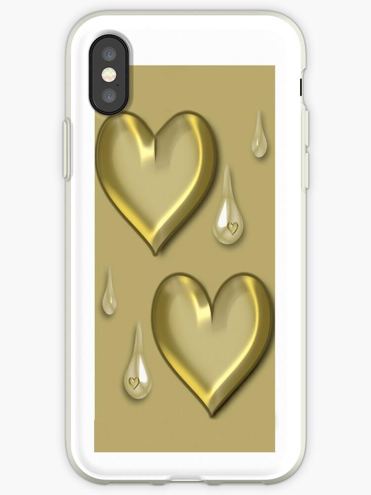 GOLDEN HEART TEARDROP IPHONE CASE by ✿✿ Bonita ✿✿ ђєℓℓσ