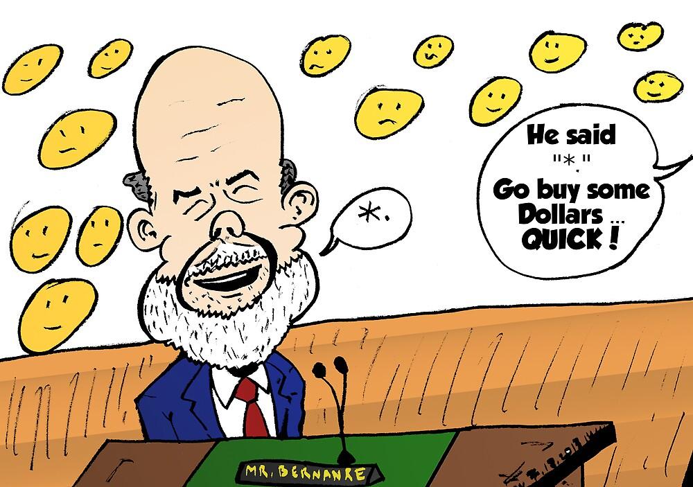 Ben Bernanke editorial cartoon by Binary-Options