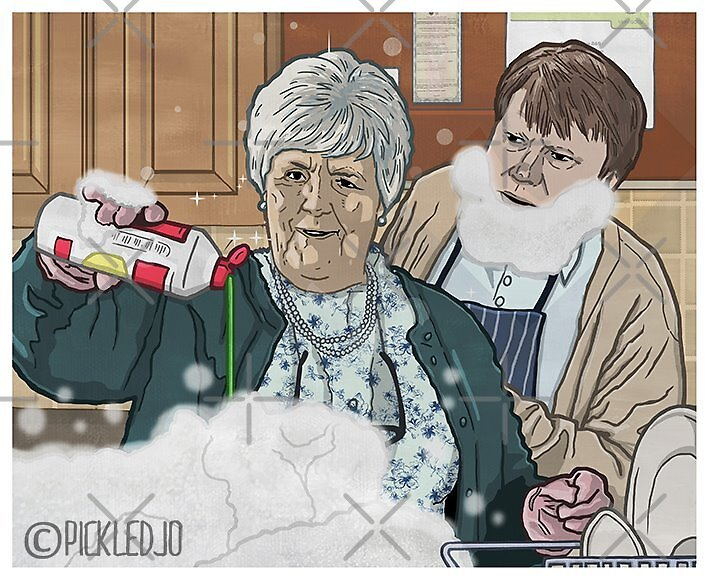 Sylvia on the space cakes with Roy Cropper by pickledjo
