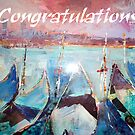Gondolas Venice Italy - Congratulations Greeting Card by Ballet Dance-Artist