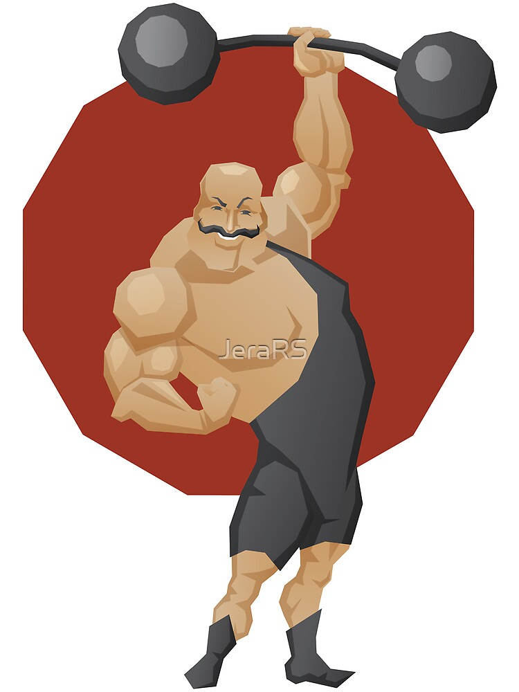 Smiling strong man lift a barbell by Jera RS