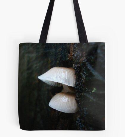LITTLE CLOCHES ON THE BIG OAK STUMP Tote Bag
