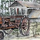 farm tractor vintage art print by derekmccrea