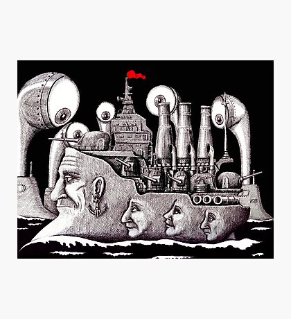 Revolutionary Ship ink pen drawing on paper Photographic Print