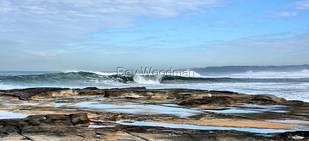 Rolling In - Newcastle Beach NSW Australia by Bev Woodman