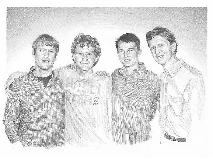 Father and sons drawing memorial by Mike Theuer