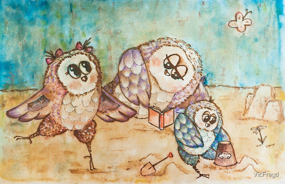 Owls on the beach by VicFreyd