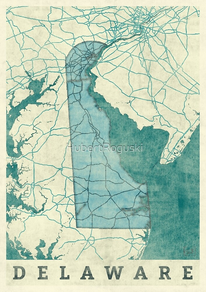 Delaware Map Blue Vintage by HubertRoguski