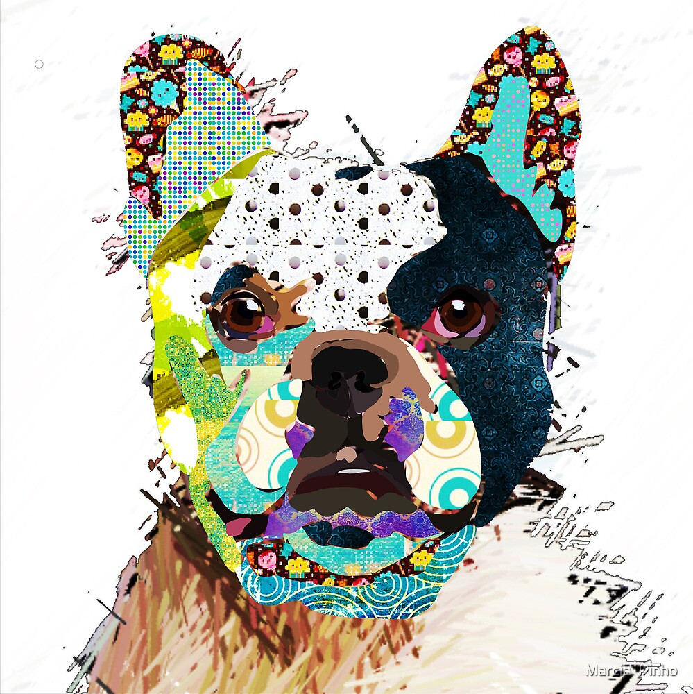 Bulldog portrait by Marcia  Pinho