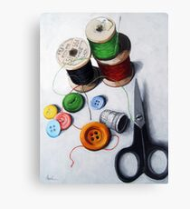 Sewing Memories 2 realistic still life Canvas Print