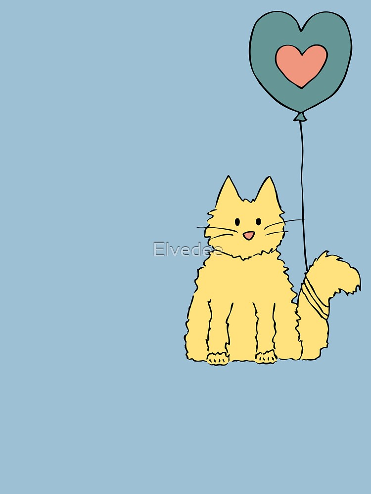 My cat loves balloons by Elvedee