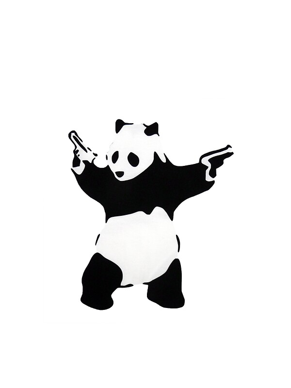 Quot Banksy Panda With Handguns Quot Stickers By Iamjt Redbubble