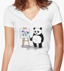 Pandas paint colorful pictures. Fitted V-Neck T-Shirt