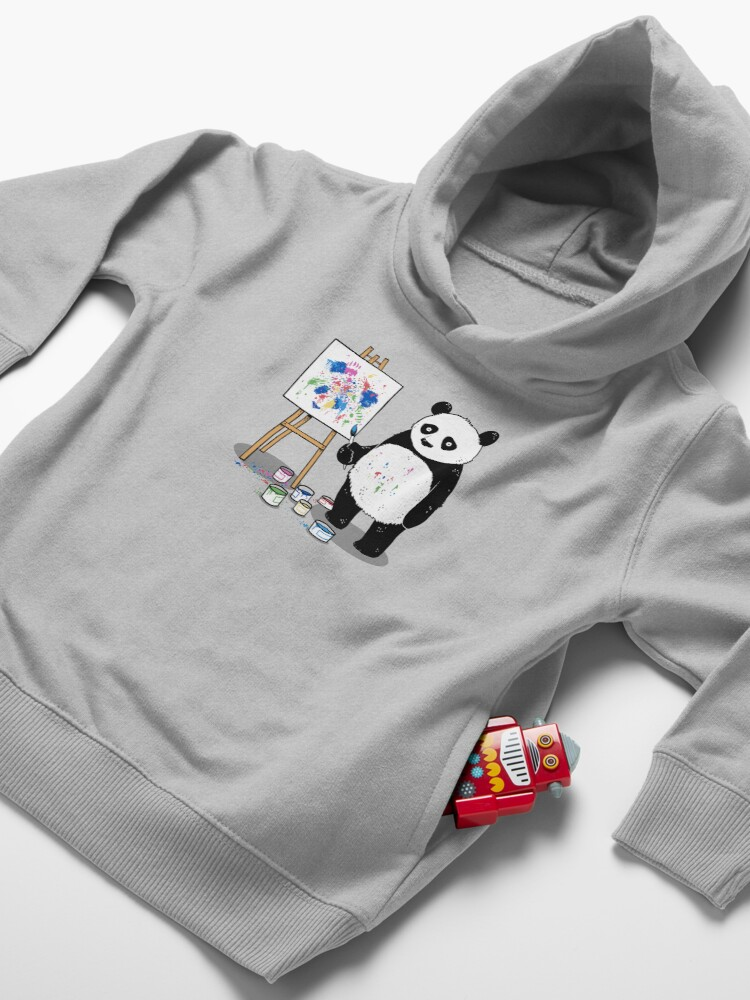 Alternate view of Pandas paint colorful pictures. Toddler Pullover Hoodie