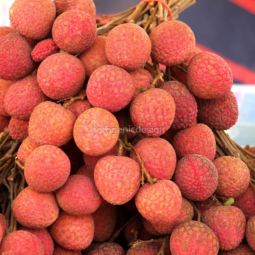 Fresh Red Lychee Fruit by fotogenicdesign