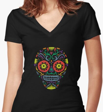 Sugar Skull SF -  on blackSugar skull SF in black white and orange. © Andi Bird  All Rights Reserved. Women's Fitted V-Neck T-Shirt