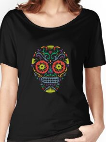 Sugar Skull SF -  on blackSugar skull SF in black white and orange. © Andi Bird  All Rights Reserved. Women's Relaxed Fit T-Shirt
