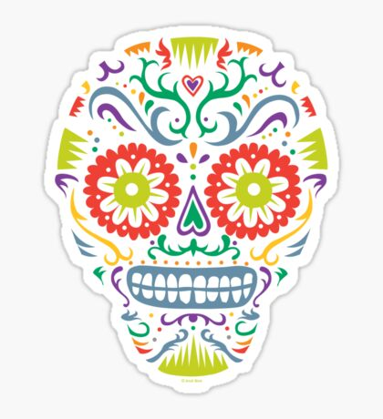 Sugar Skull SF -  on blackSugar skull SF in black white and orange. © Andi Bird  All Rights Reserved. Sticker