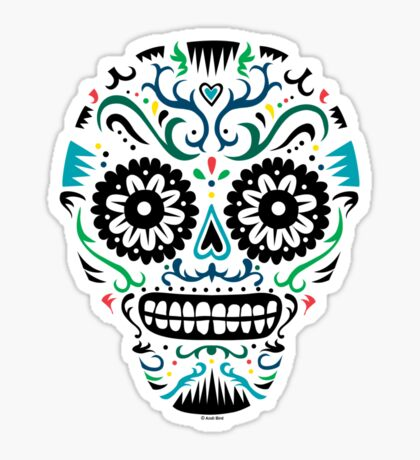 Sugar Skull SF multi om white Sticker