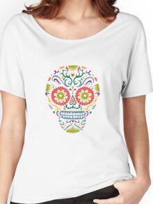 Sugar Skull SF multi 2 - on white Women's Relaxed Fit T-Shirt