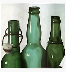 Green Bottles realistic still life oil painting Poster