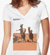 AUSSIE BACKPACKERS Women's Fitted V-Neck T-Shirt