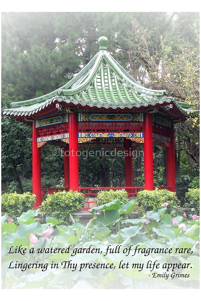 Chinese Garden with Pavilion and Lotus Pond by fotogenicdesign