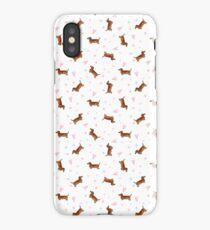 Dachshund Pattern - White iPhone Case/Skin