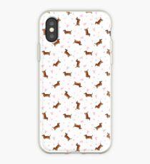 Dachshund Pattern - White iPhone Case