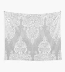 Lace & Shadows 2 - Monochrome Moroccan doodle Wall Tapestry