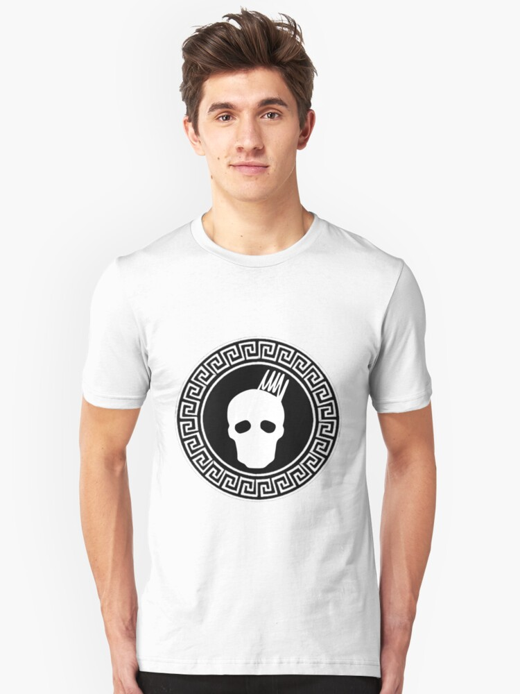Greek Keys White Cranium Design Unisex T-Shirt Front