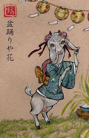 Bon'Odori with Flowers Print by WenchintheGears