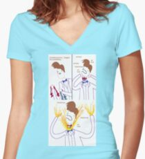 Three Bowties Women's Fitted V-Neck T-Shirt