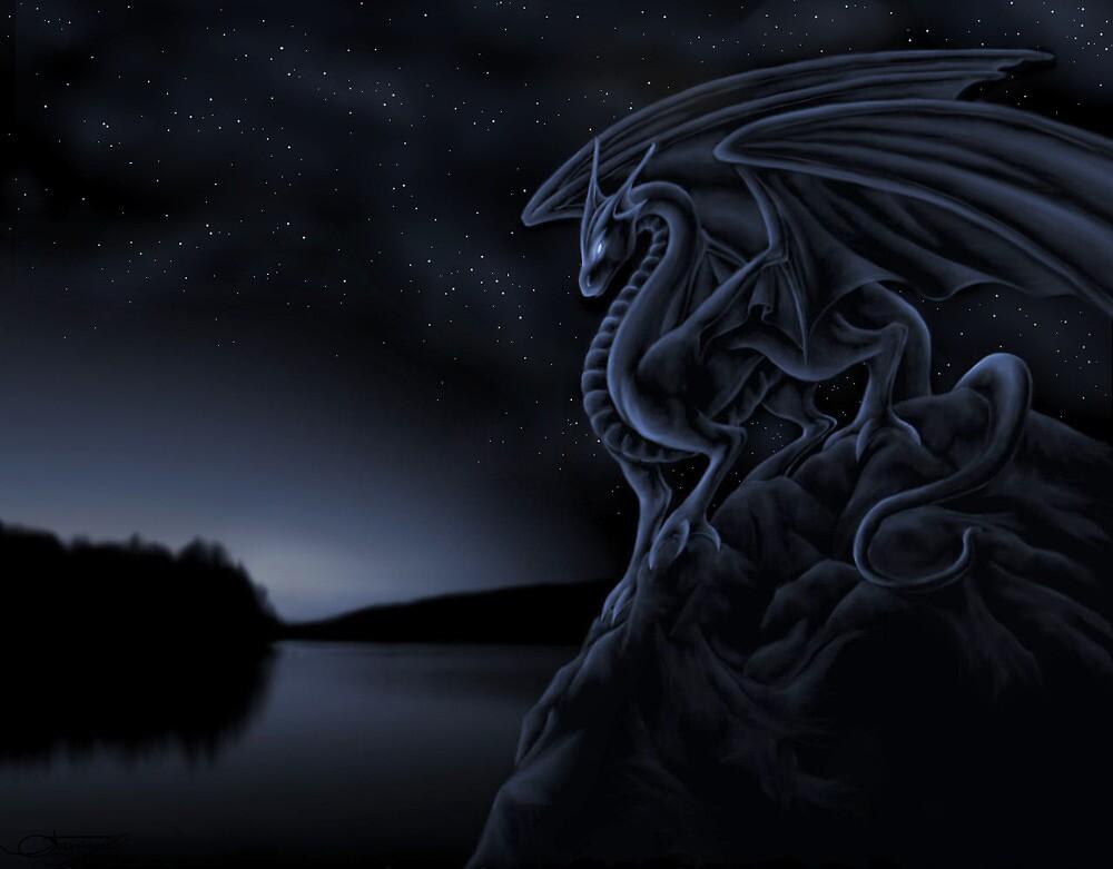 Midnight Dragon - Custom Fantasy Art by MidnightWhimsy